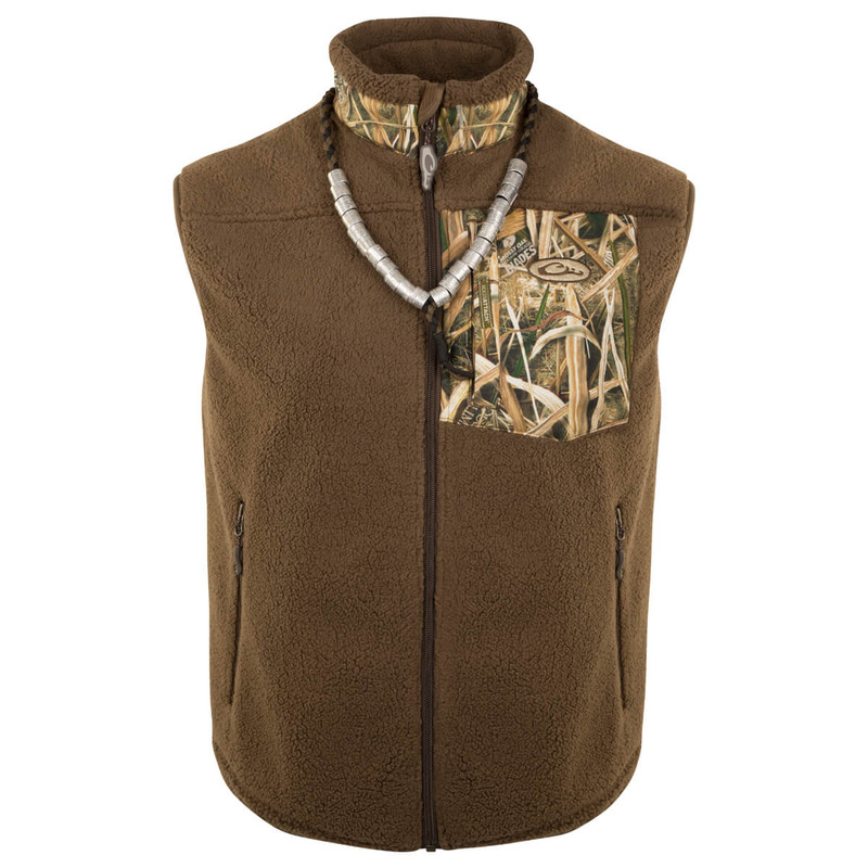 Drake MST Sherpa Fleece Hybrid Liner Vest in Mossy Oak Shadow Grass Blades Color