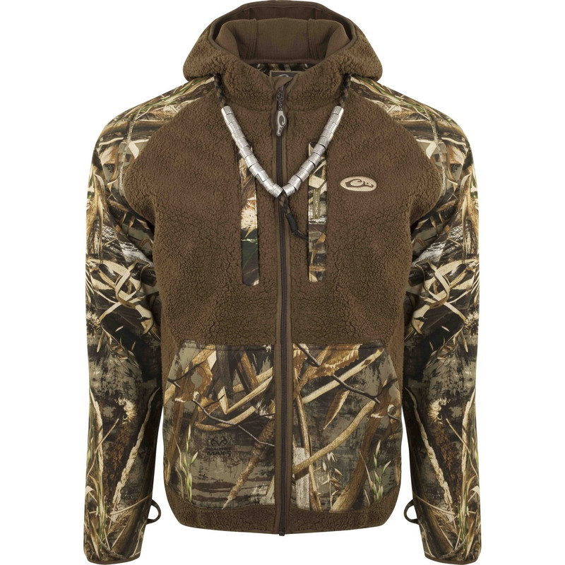 Drake MST Sherpa Fleece Hybrid Liner Full Zip With Hood in Realtree Max 5 Color
