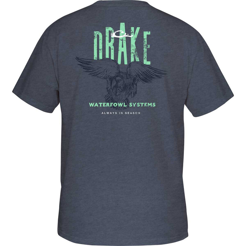 Drake Committed Mallard Short Sleeve T-Shirt in Denim Heather Color
