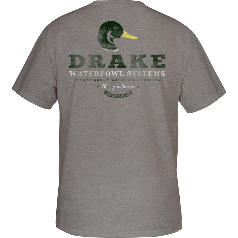 Drake Greenhead Short Sleeve T-Shirt in Graphite Heather Color