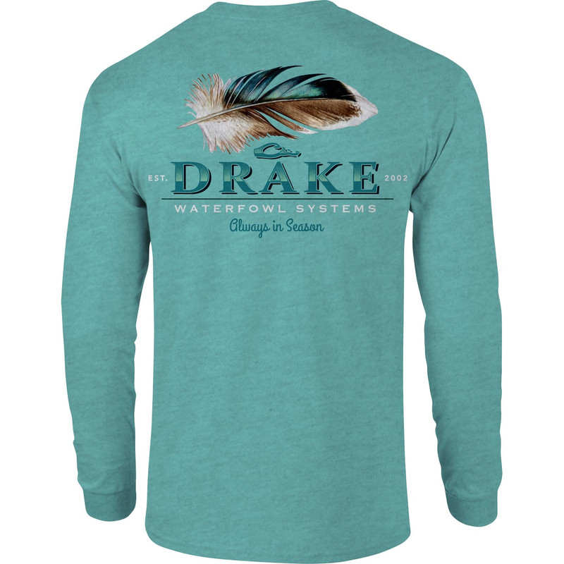 Drake Duck Feather Long Sleeve T-Shirt in Cyan Heather Color