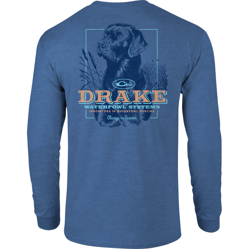 Drake Stoic Lab Long Sleeve T-Shirt in Royal Heather Color