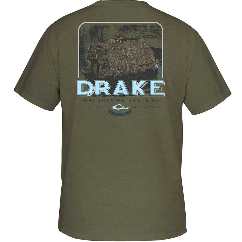 Drake Boat Blind Short Sleeve T-Shirt in Military Heather Color