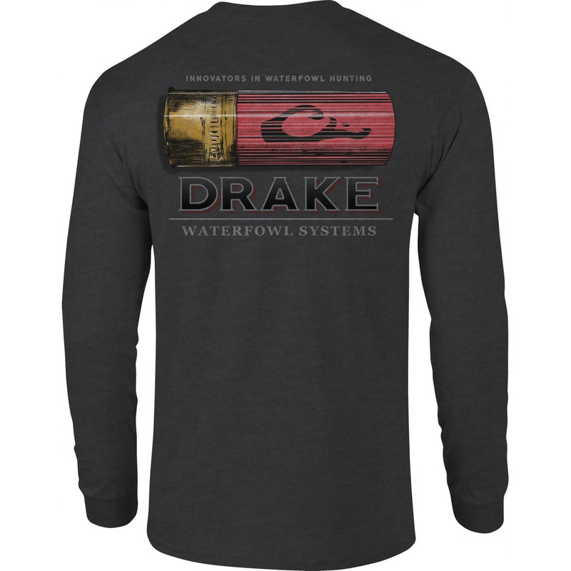 Drake Long Sleeve Shotshell Shirt in Charcoal Heather Color