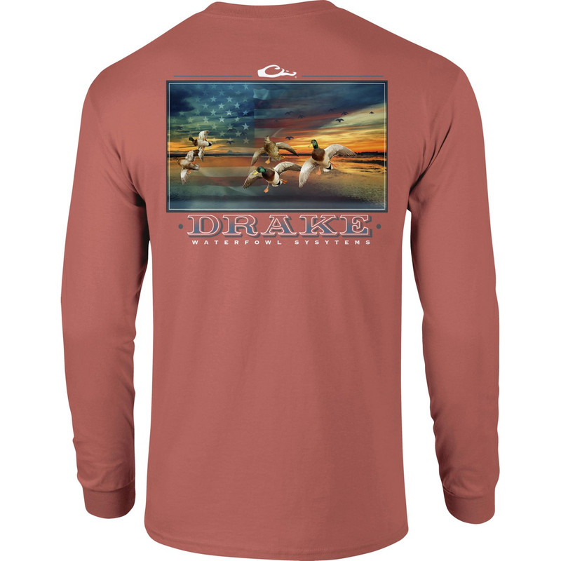 Drake Long Sleeve America's Cup Shirt in Salmon Heathered Color