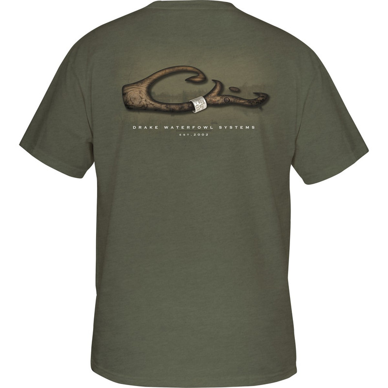 Drake Short Sleeve Band On Logo Shirt in Military Heather Color