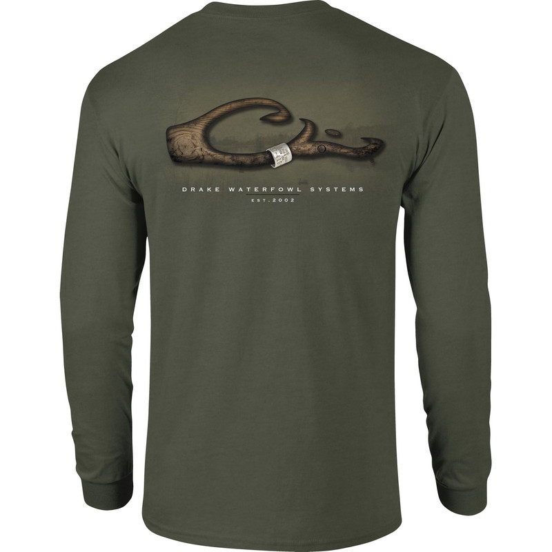 Drake Long Sleeve Band On Logo Shirt in Military Heather Color