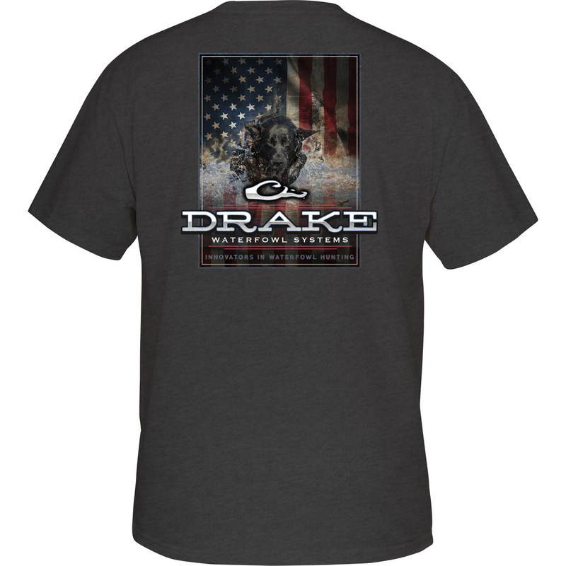 Drake Short Sleeve Charging Patriot Shirt in Charcoal Heather Color