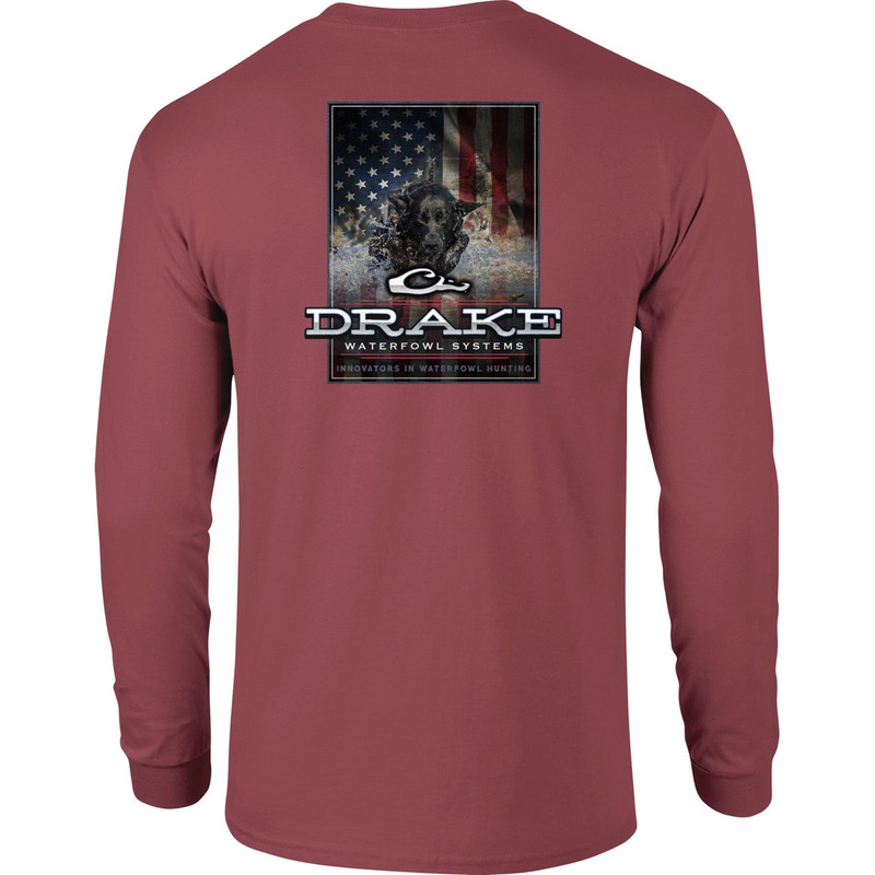 Drake Long Sleeve Charging Patriot Shirt in Vintage Red Color