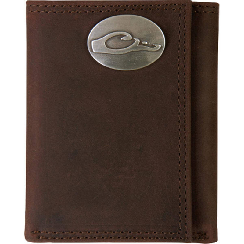 Drake Leather Tri-Fold Wallet - Brown
