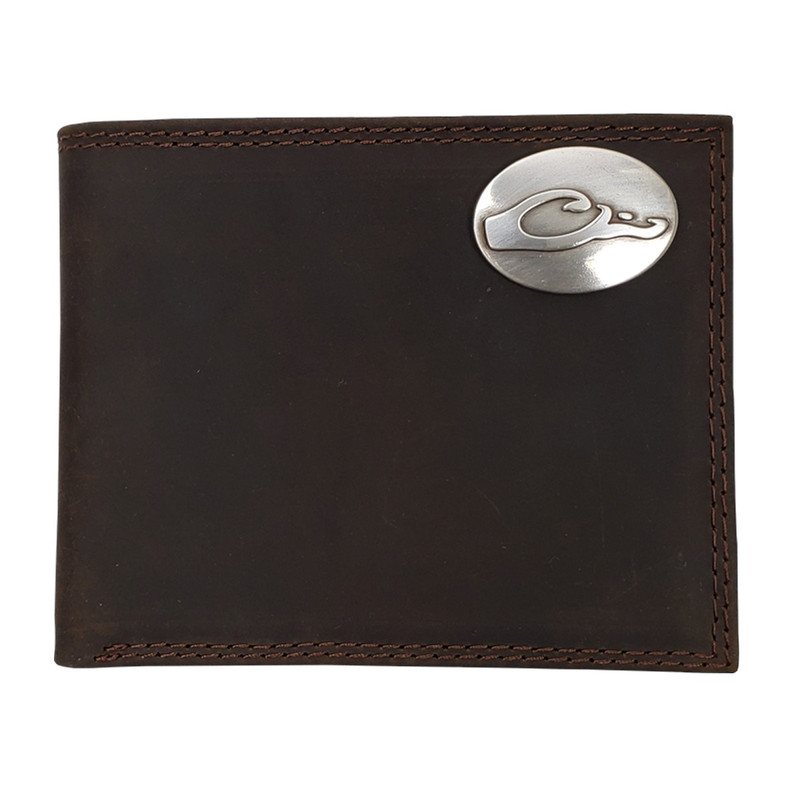 Drake Leather Bi-Fold Wallet - Brown