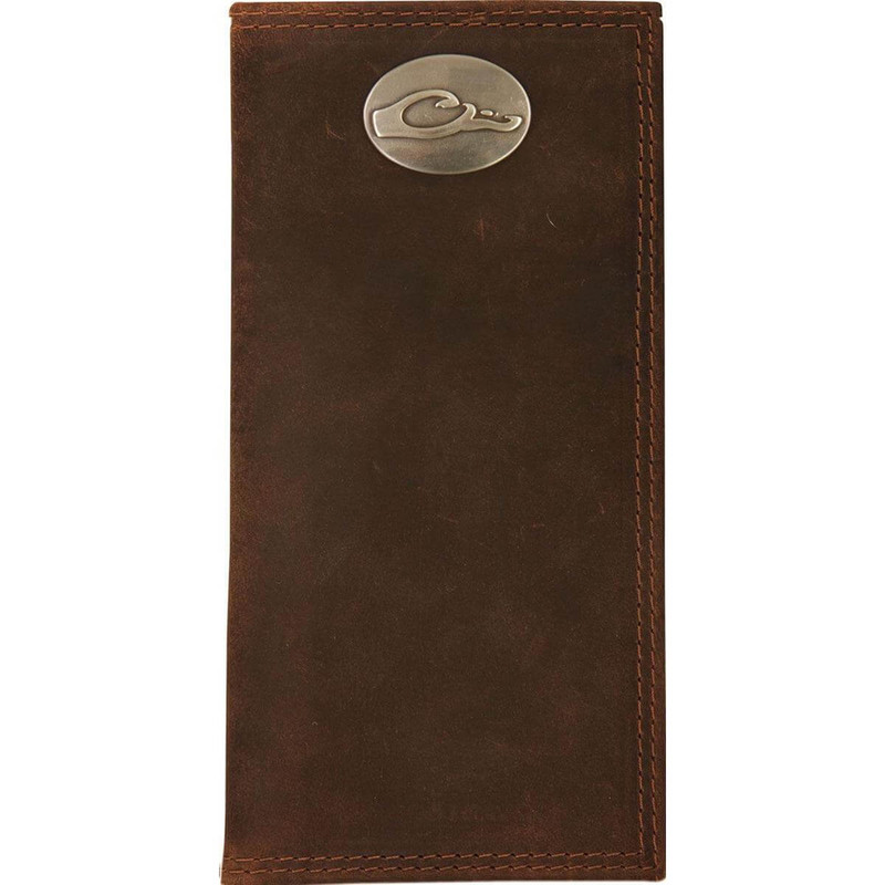 Drake Leather Checkbook Wallet - Brown