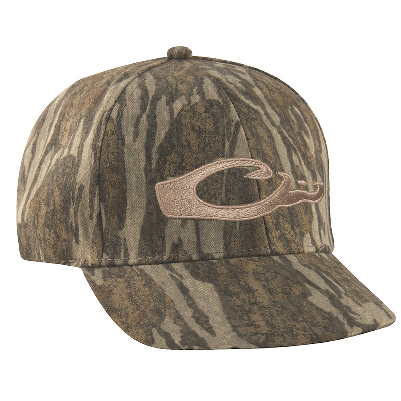 Drake Waterfowl Camo Flat Bill Logo Cap in Mossy Oak Bottomland Color