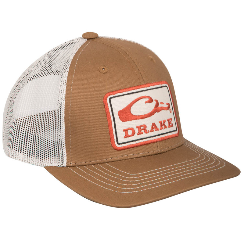Drake Square Patch Mesh Cap in Brown Putty Color