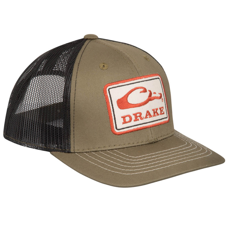 Drake Square Patch Mesh Cap in Loden Black Color