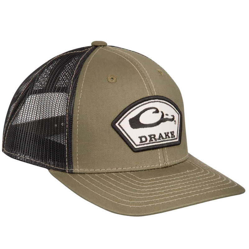 Drake Arch Patch Mesh Cap in Loden Black Color