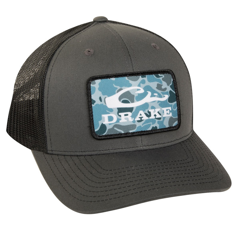 Drake Old School Patch Mesh Back Cap in Charcoal Black Color
