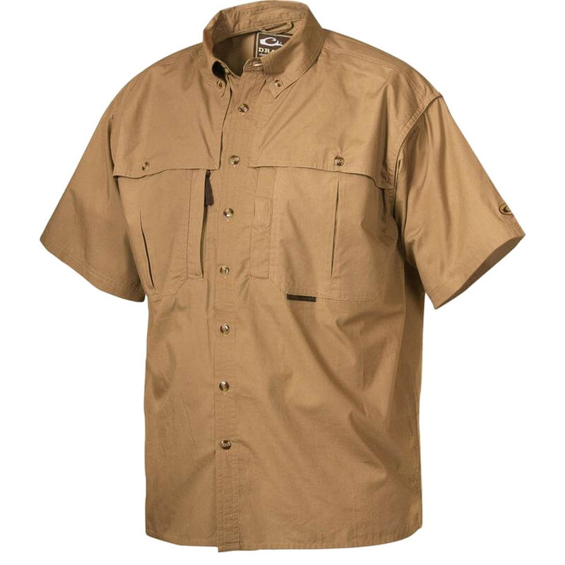 Drake Stay Cool Short Sleeve Wingshooter Shirt in Khaki Color