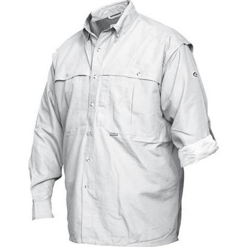 Drake Cotton Stay Cool Long Sleeve Wingshooter Shirt in White