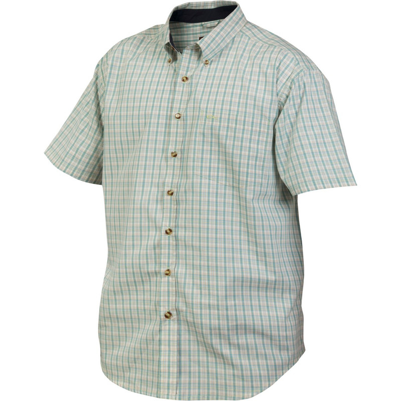 Drake Big Easy Plaid Short Sleeve Shirt in Marina Green Lime Color