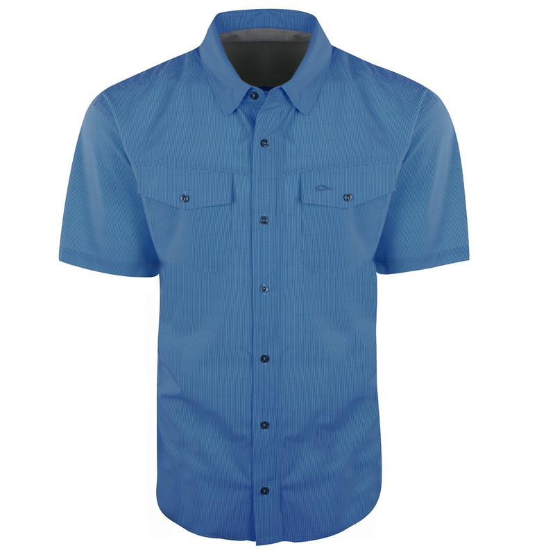 Drake Traveler's Check Shirt Short Sleeve in Blue Color