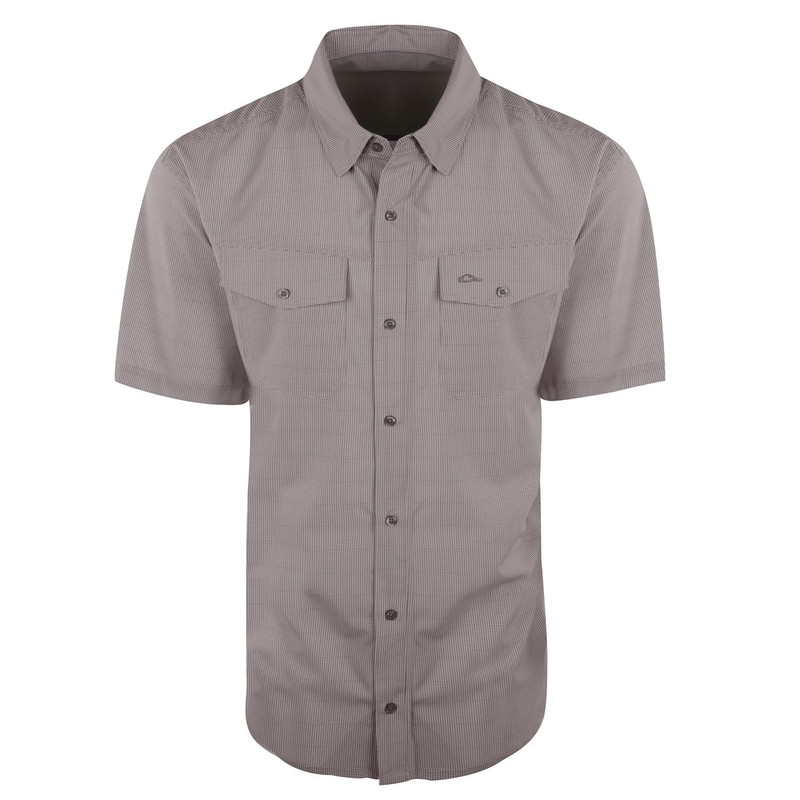 Drake Traveler's Check Shirt Short Sleeve in Gray Color