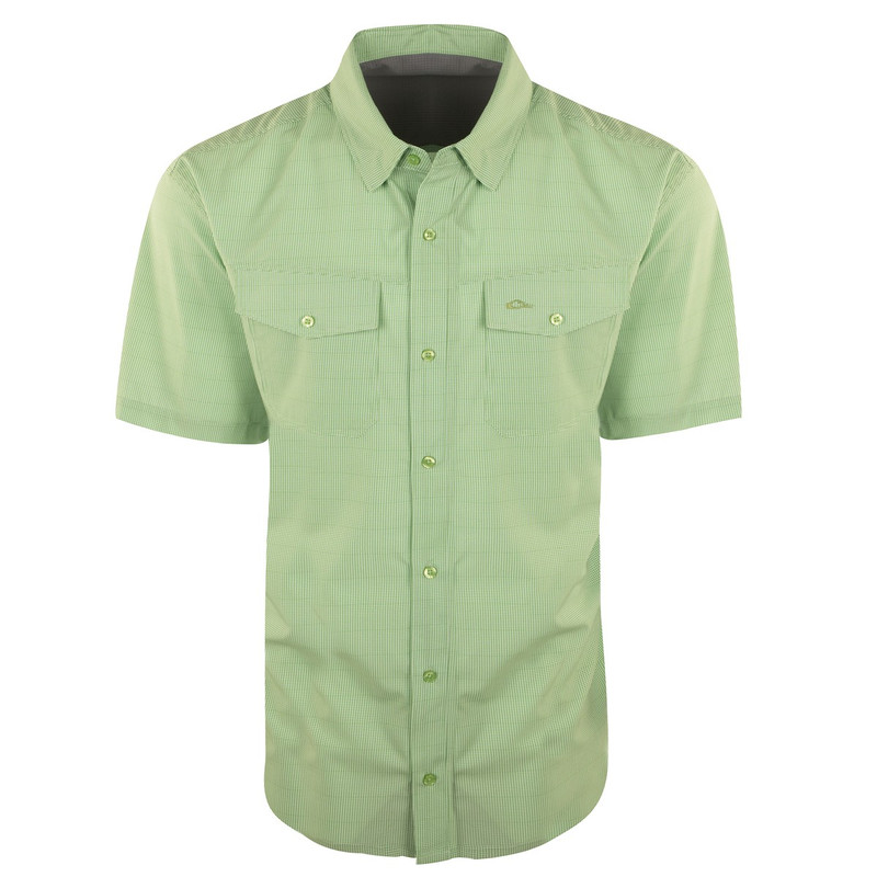 Drake Traveler's Check Shirt Short Sleeve in Green Color