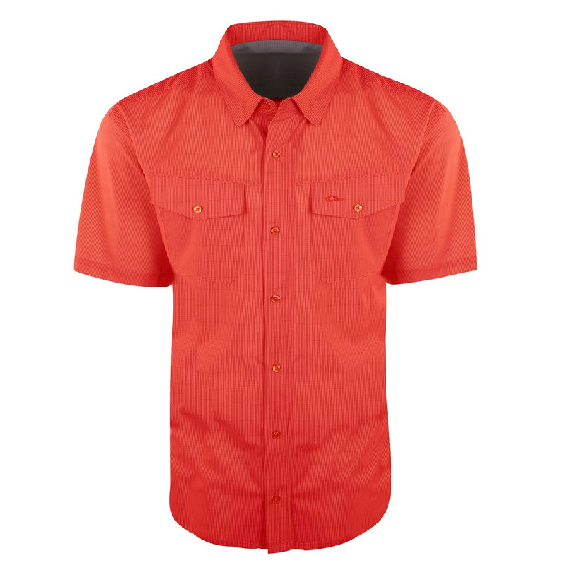 Drake Traveler's Check Shirt Short Sleeve in Red Color