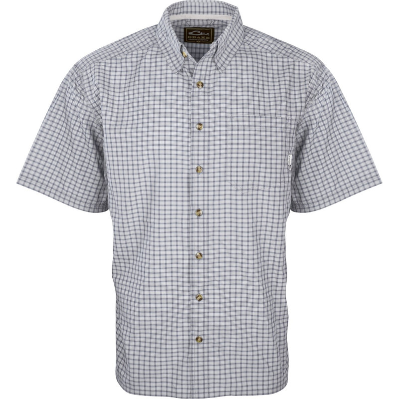 Drake Featherlite Check Short Sleeve Shirt in Midnight Grey Color