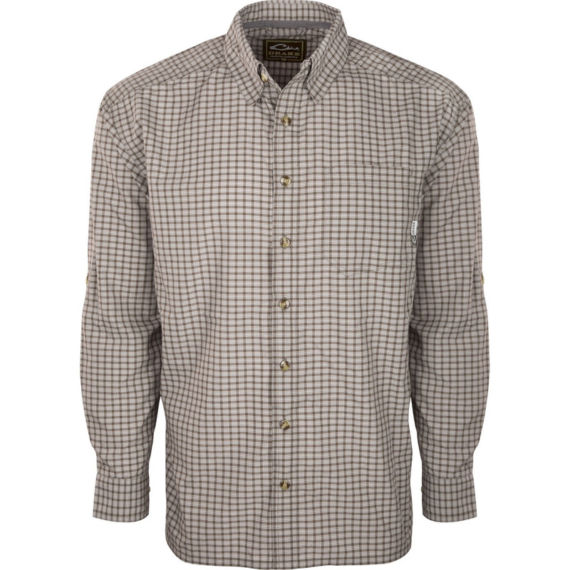 Drake Featherlite Check Long Sleeve in Chocolate Brown Color