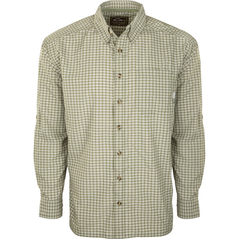 Drake Featherlite Check Long Sleeve in Rifle Green Color