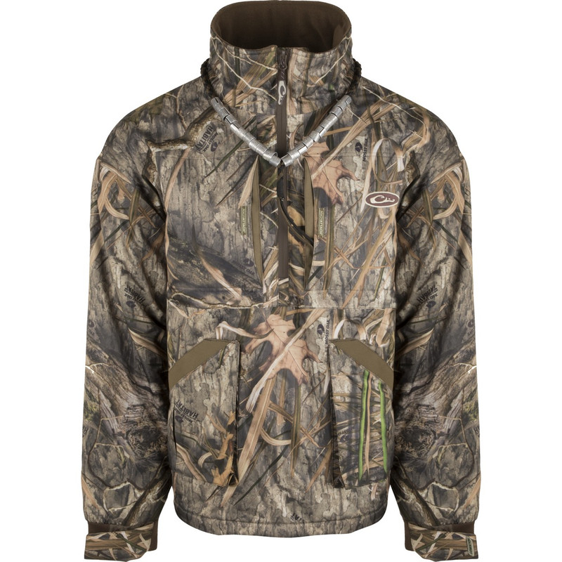 Drake Refuge Fleece Lined Quarter Zip 3.0 in Mossy Oak Blades Habitat Color