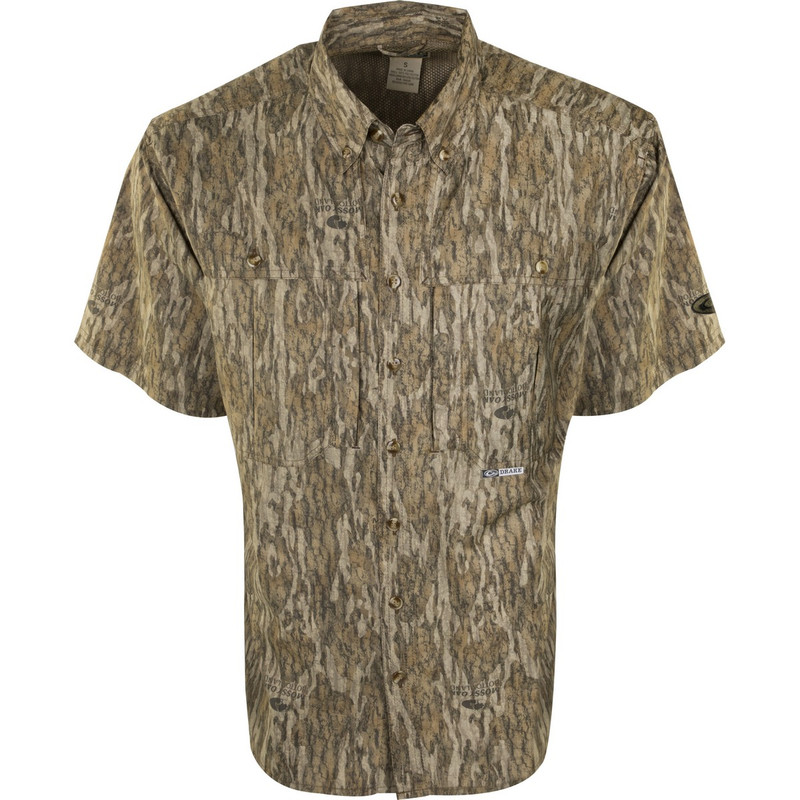 Drake EST Flyweight Wingshooter Short Sleeve in Mossy Oak Bottomland Color