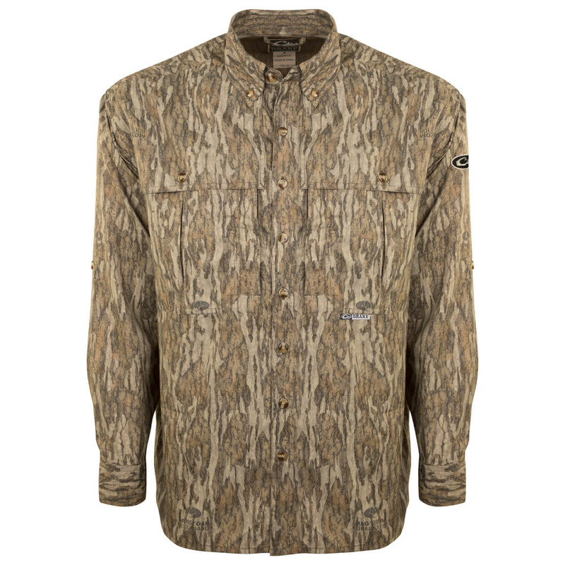Drake EST Flyweight Wingshooter Long Sleeve Hunting Shirt in Mossy Oak Bottomland Color