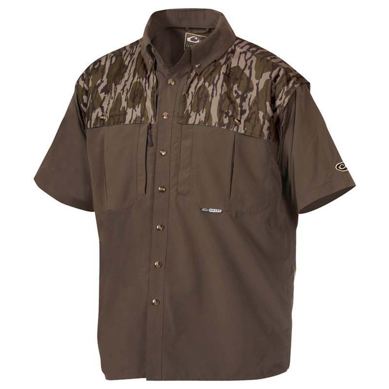 Drake Youth Two-Tone Camo Wingshooters Short Sleeve Shirt in Mossy Oak Bottomland Color