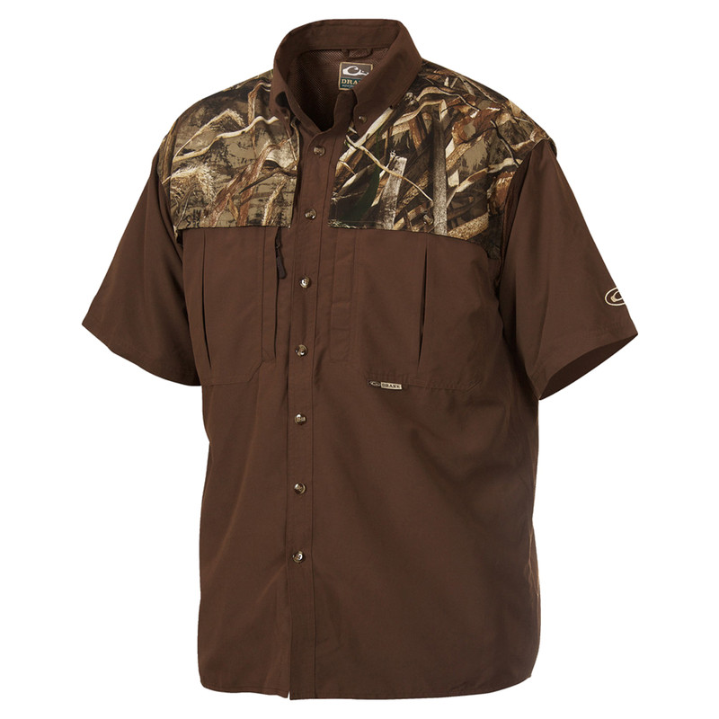 Drake Youth Two-Tone Camo Wingshooters Short Sleeve Shirt in Realtree Max 5 Color