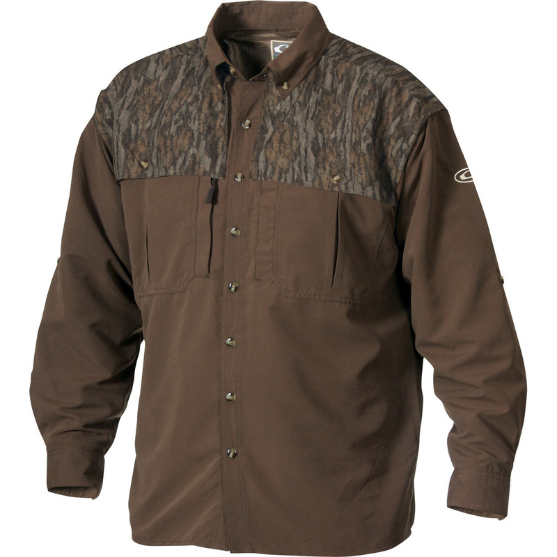 Drake Youth Two-Tone Vented Wingshooter Long Sleeve in Mossy Oak Bottomland Color
