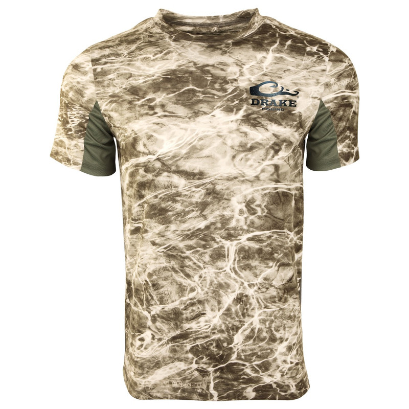 Drake Shield 4 Mesh Back Crew Neck Short Sleeve Shirt in Sandcrab Olive Color