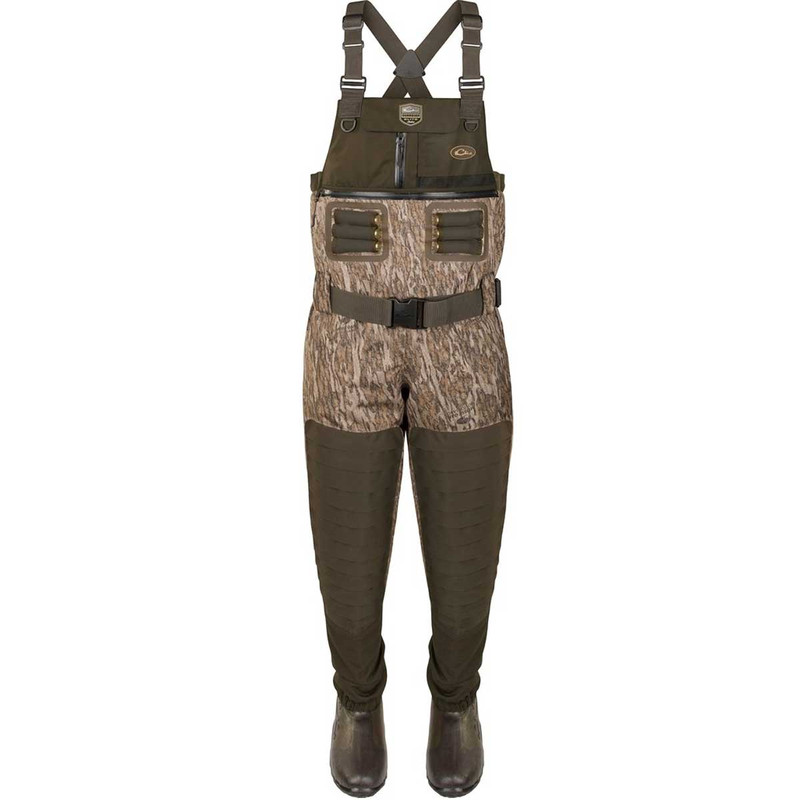Drake Guardian Elite 6 Layer 4-In-1 Chest Wader with Tear Away Liner in Mossy Oak Bottomland Color