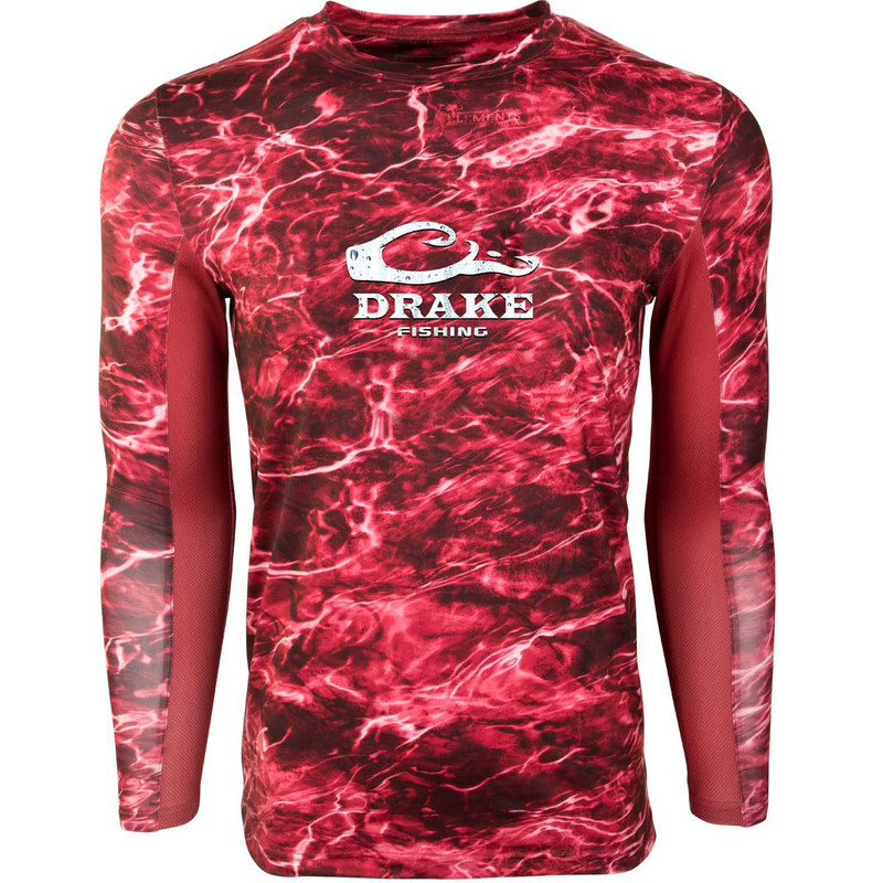 Drake Shield 4 Mesh Back Crew Neck Long Sleeve Fishing Shirt in Crimson Red Color