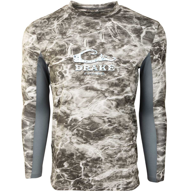 Drake Shield 4 Mesh Back Crew Neck Long Sleeve Fishing Shirt in Manta Gray Color