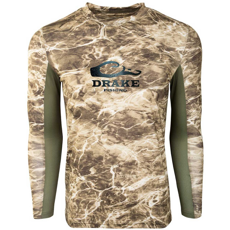 Drake Shield 4 Mesh Back Crew Neck Long Sleeve Fishing Shirt in Sandcrab Olive Color