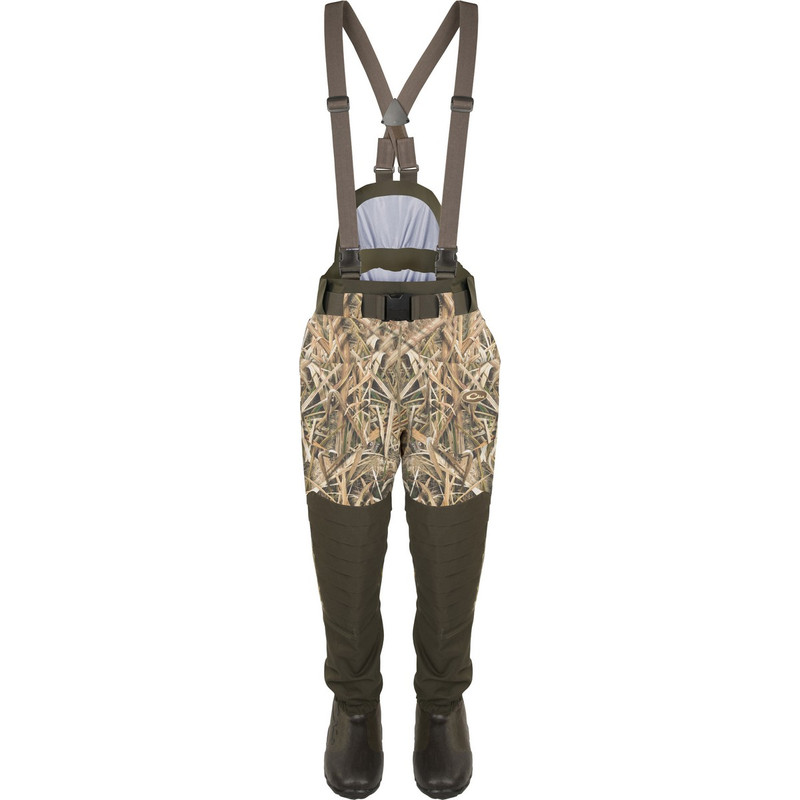 Drake Guardian Elite 6 Layer 4-In-1 Waist High Wader With Tear Away Insulated Liner in Mossy Oak Shadow Grass Blades Color