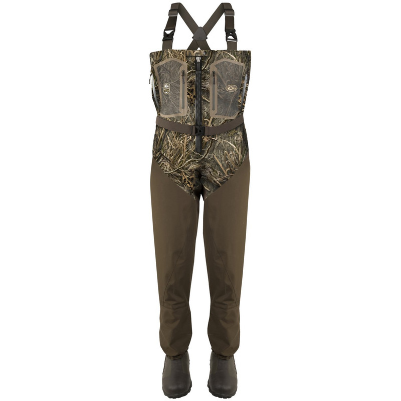 Drake TZip Guardian Elite 4-Layer Wader With Tear-Away Liner in Mossy Oak Blades Habitat Color