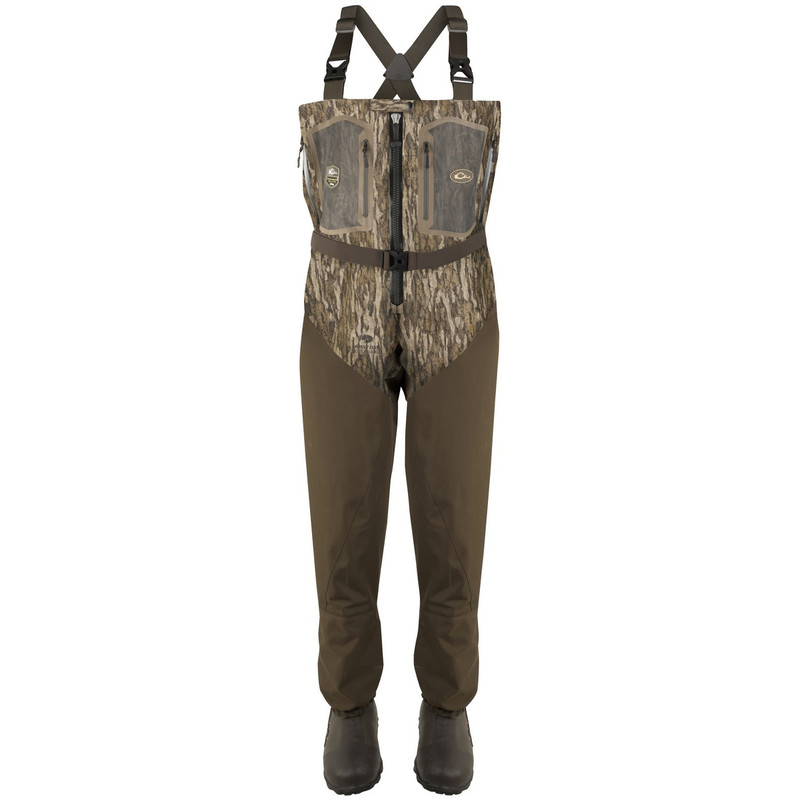 Drake TZip Guardian Elite 4-Layer Wader With Tear-Away Liner in Mossy Oak Bottomland Color
