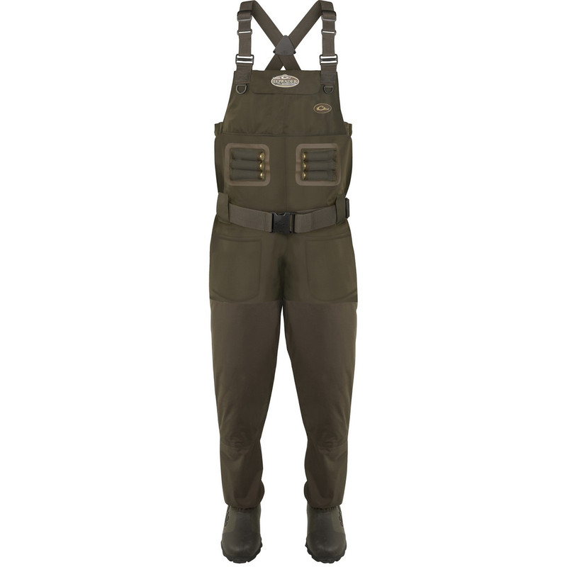 Drake Eqwader Breathable 1600G Wader With Tear-Away Liner in Green Timber Color
