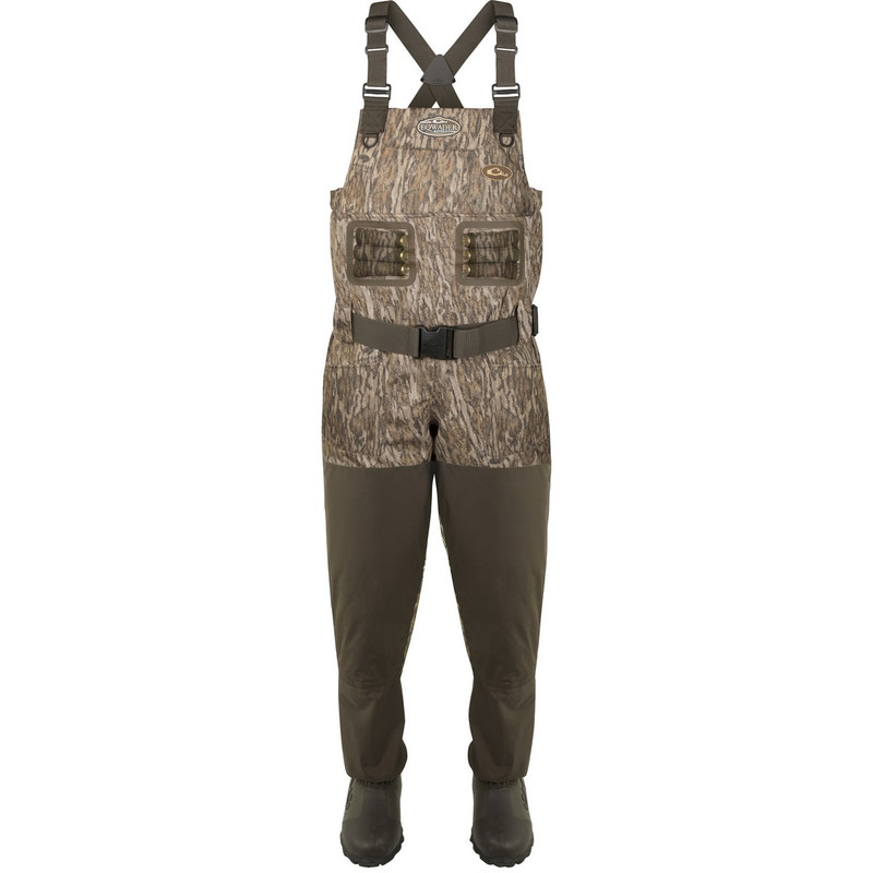 Drake Eqwader Breathable 1600G Wader With Tear-Away Liner in Mossy Oak Bottomland Color