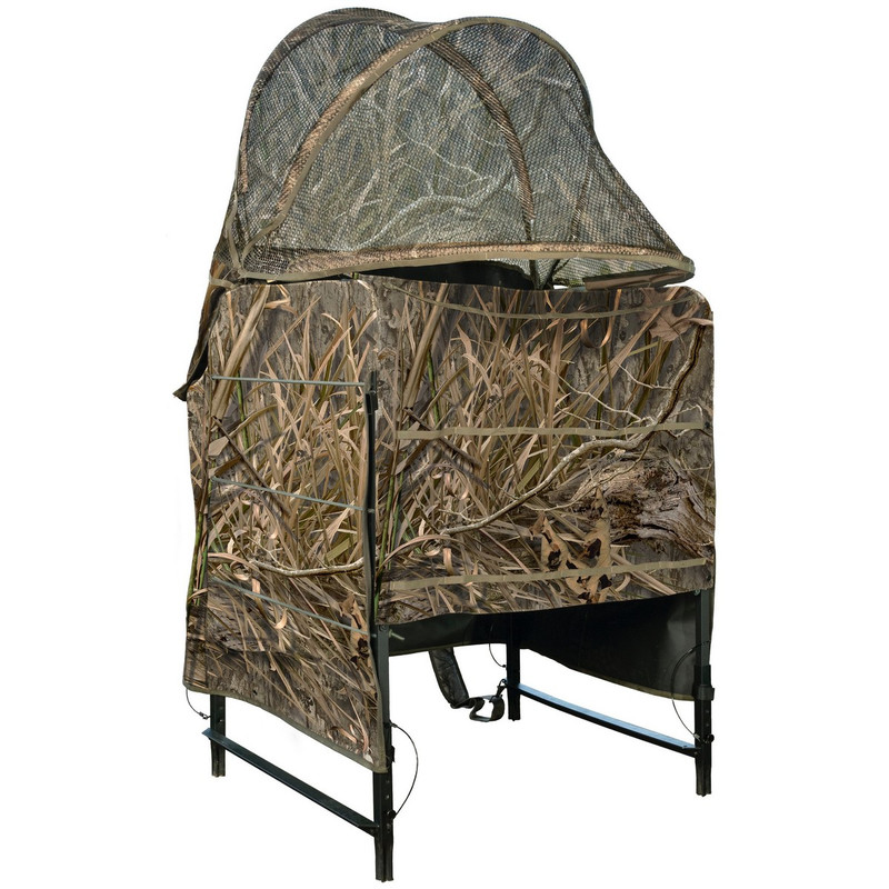 Drake Ghillie Shallow Water Chair Blind in Mossy Oak Blades Habitat Color