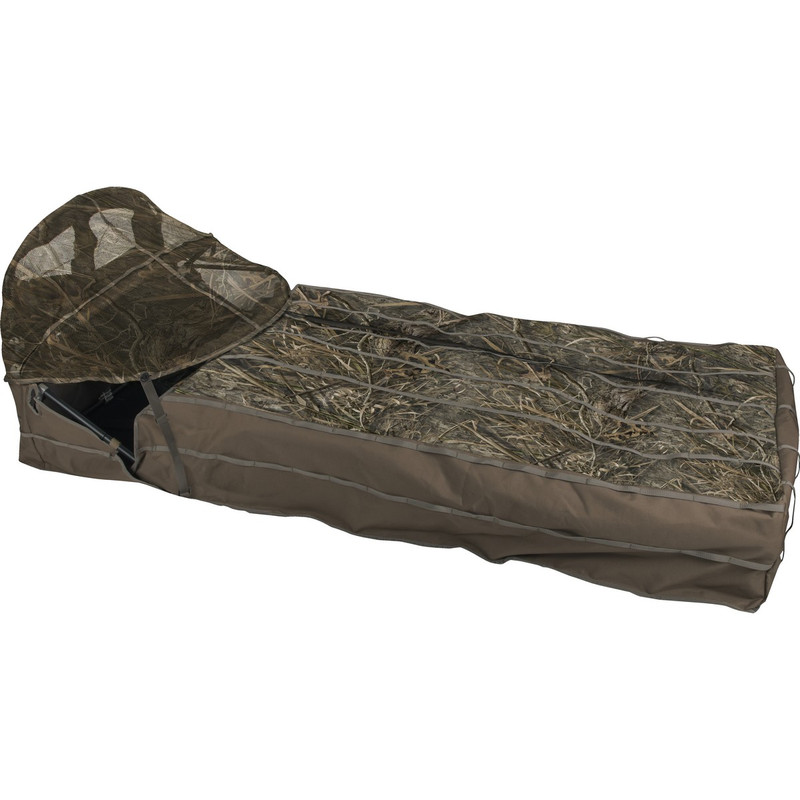 Drake Ghillie Layout Blind with Spring Loaded Bonnet in Mossy Oak Blades Habitat Color