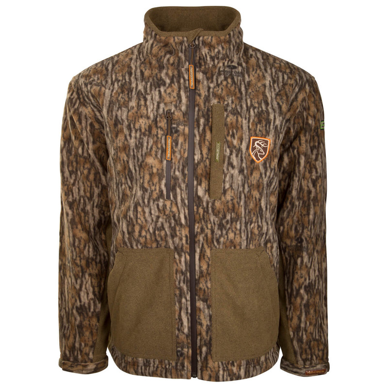Drake Non-Typical HydroHush Midweight Full Zip Jacket in Mossy Oak Bottomland Color